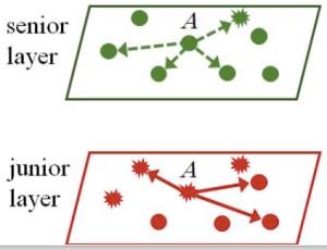優先債権(上)と劣後債権(下)で構成される多層ネットワーク
